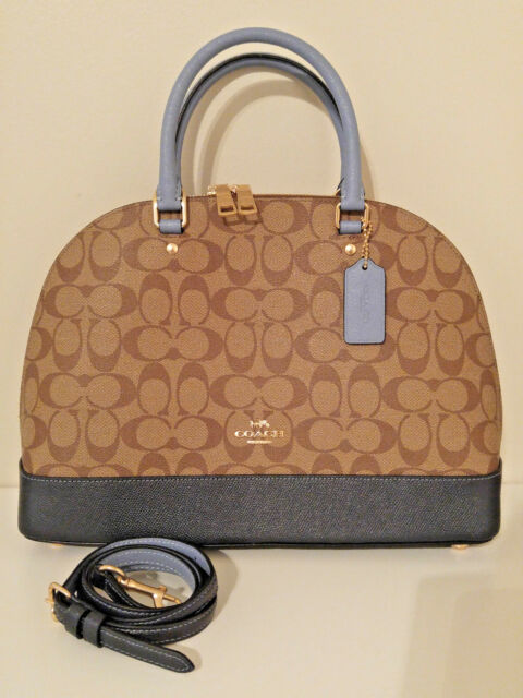 8d222cec9f749 New Coach Sierra Satchel in Colorblock Signature Canvas Khaki Pool Blue  F25898