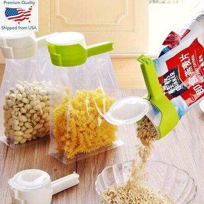 1Pcs Seal Pour Food Storage Bag Clip with Cap Food Pour Food Storage Bag C tiJ9