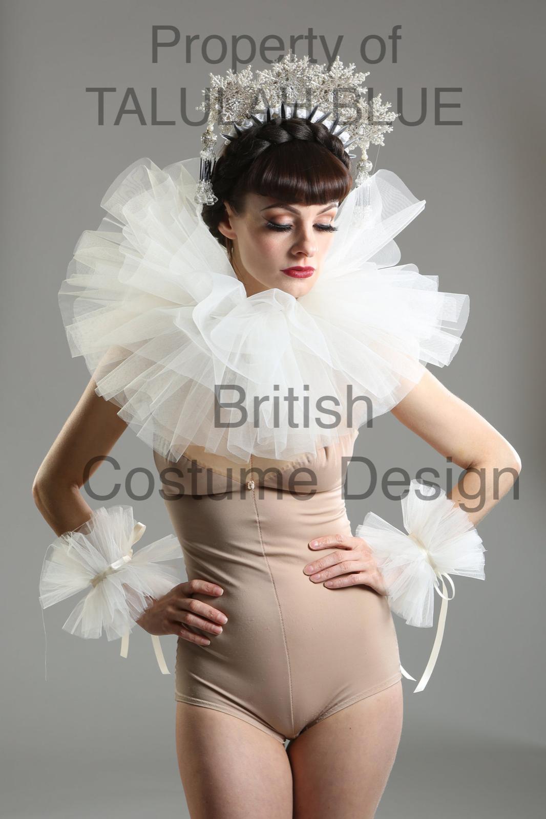 Cream Ivory Tulle Mesh circus neck ruff pierrot clown collar costume fancy dress