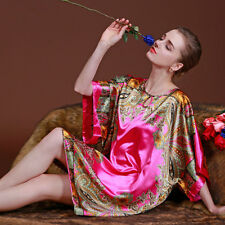 Pyjama ample Femme Vêtement Chemise de Nuit  en Soie Rose