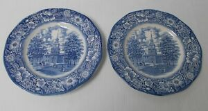 2-LIBERTY-BLUE-Independence-Hall-Plates-Made-in-England-Staffordshire-Ironstone