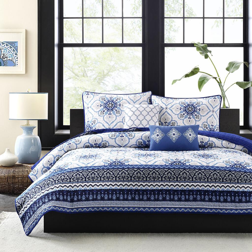 BEAUTIFUL MODERN TROPICAL blu grigio bianca BOHEMIAN GLOBAL EXOTIC QUILT SET NEW