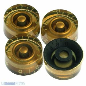 NEW-4-RELIC-AGED-GOLD-Vintage-Style-Speed-Knobs-for-Gibson-USA-CTS-Pots