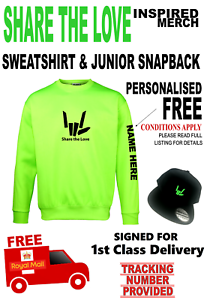 SHARE-THE-LOVE-inspired-Sweatshirt-amp-Snapback-Skipc-AGE-7-8yrs-PERSONALISED-FREE