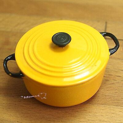 Dollhouse Miniature 1:12 Toy Kitchen Metal Yellow Stock Pot Soup Pot SPO304