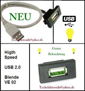 USB-Einbaubuchse-BELEUCHTUNG-50cm-passend-fuer-Auto-CRV-Civic-Jazz-Focus-Mondeo