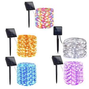 LED-Solar-Lichterketten-Wasserfest-Kupferdraht-Lampe-8-Modus-Dekoratives-Licht