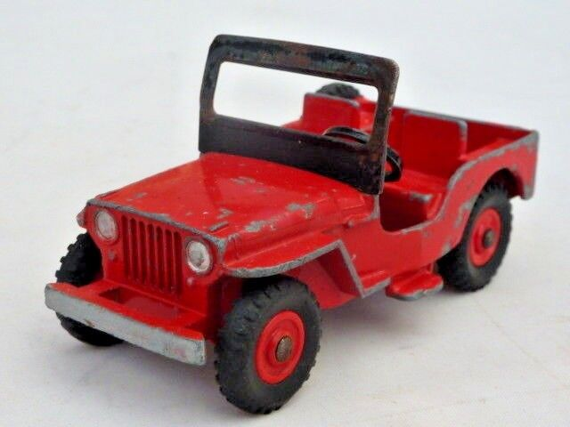 DINKY - JEEP - No 4O5 - RED WITH PLASTIC HUBS - TATTY BOX