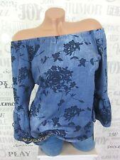 SOMMER Bluse Tunika Carmen Shirt off Shoulder JEANS-OPTIK 36 38 40/42 Blau EF18