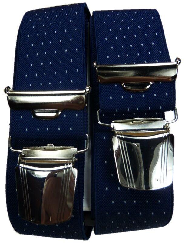 feiner Hosenträger, blau mit Punkten, 35mm breit, 4 extra starke ABC-Clips