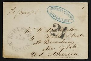 US Retaliatory rate France transatlantic 1853(Feb)Paris to NY,Boston British Pkt