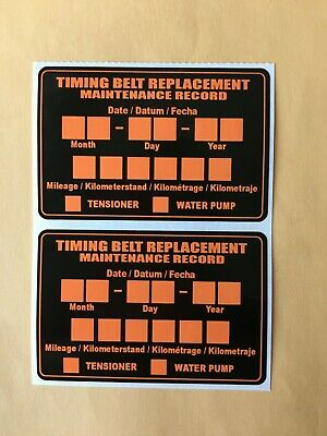 Qty 5 POLYESTER TIMING BELT REPLACEMENT STICKER DECAL LABEL ONE LOT of 5