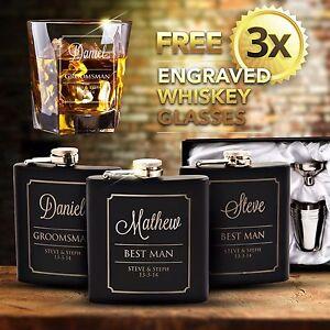 3x-Engraved-Black-Hip-Flask-Gift-Set-Personalised-Wedding-Groomsman-Bridal-Party