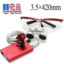 USA Red Dental Loupes 3.5X 420mm Surgical Medical with LED Head Light Lamp Set