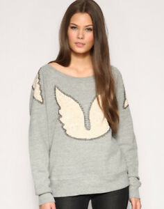 Top Beaded Wings M Grey allentata Size Maglione Connection Felpa French Sequin 3LARj45