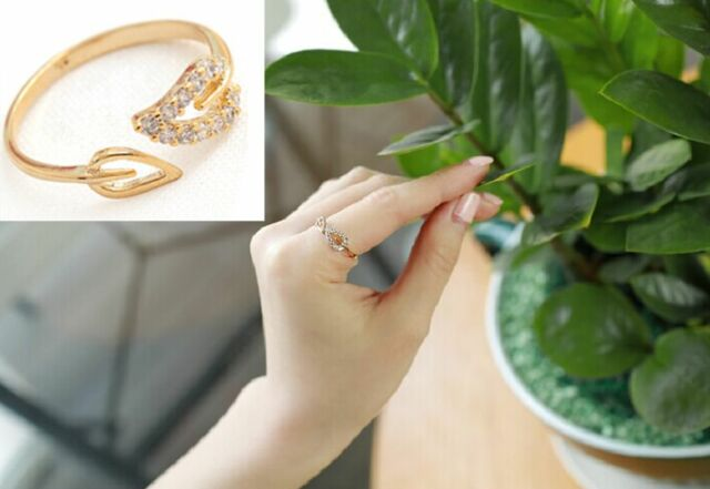 Fashion Womens Crystal Leaf Finger Ring Adjustable Jewelry Finger Ring