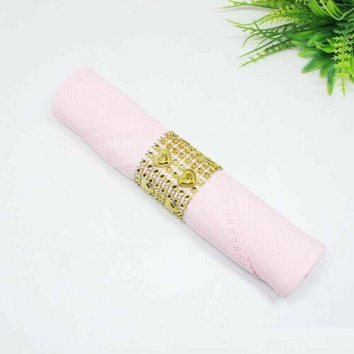 Fête De Mariage Table Décoration Argent//Or Coeur Diamants Ronds de Serviette Anneau towel holder