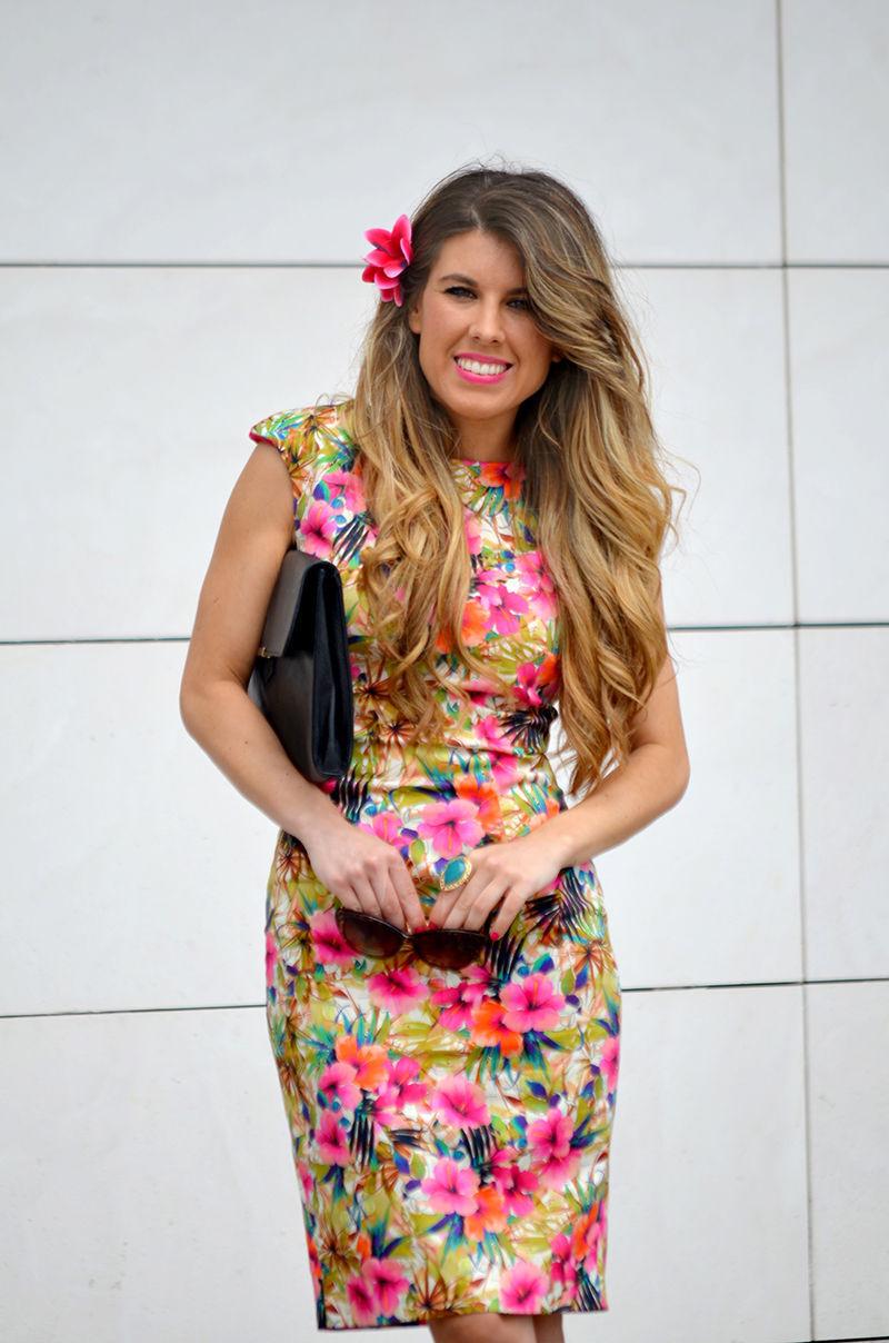 Zara Tropical Floral Print Summer Stretch Mini Dress Size S Bloggers Fave