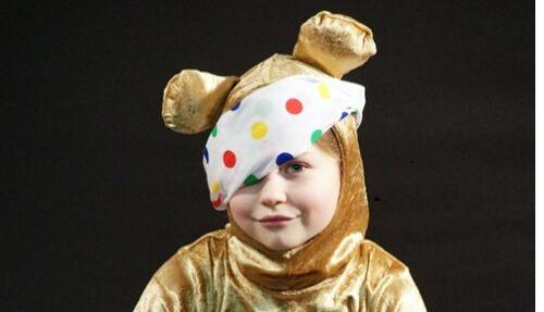 PUDSEY BEAR HOOD ONLY-Kids Fancy Dress Children in Need-Golden Brown Teddy