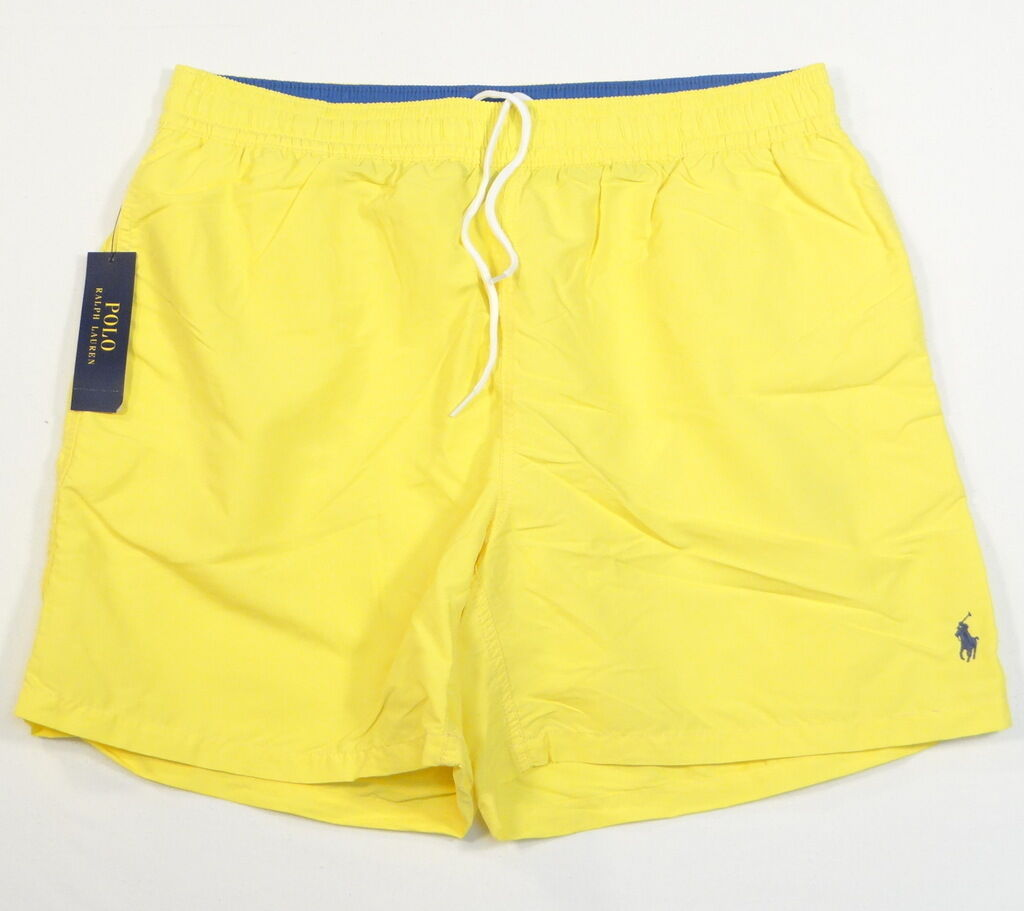 Polo Ralph Lauren Yellow Nylon Brief Lined Swim Trunks bluee Polo Pony Mens NWT