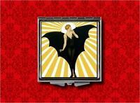 Bat Lady Woman Flapper Vintage Makeup Pocket Compact Mirror