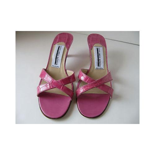 Titti DELL'ACQUA Milano Pink Alligator Slides 8 Sandales Schuhes Heels Größe 8 Slides 52e1ed