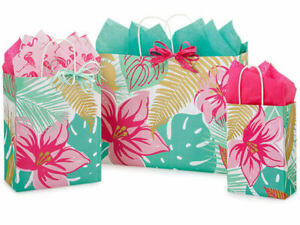 TROPICAL-PARADISE-Design-Party-Gift-Paper-Bag-ONLY-Choose-Size-amp-Pack-Amount