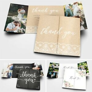 Personalised Wedding Thank You Cards with Photo + Envelopes
