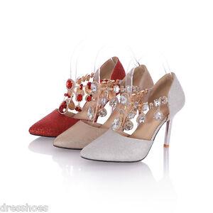 Women-039-s-Slim-Heels-Pointed-Shoes-Diamante-Sandals-Shiny-Glitter-Pumps-AU-Sz-D031