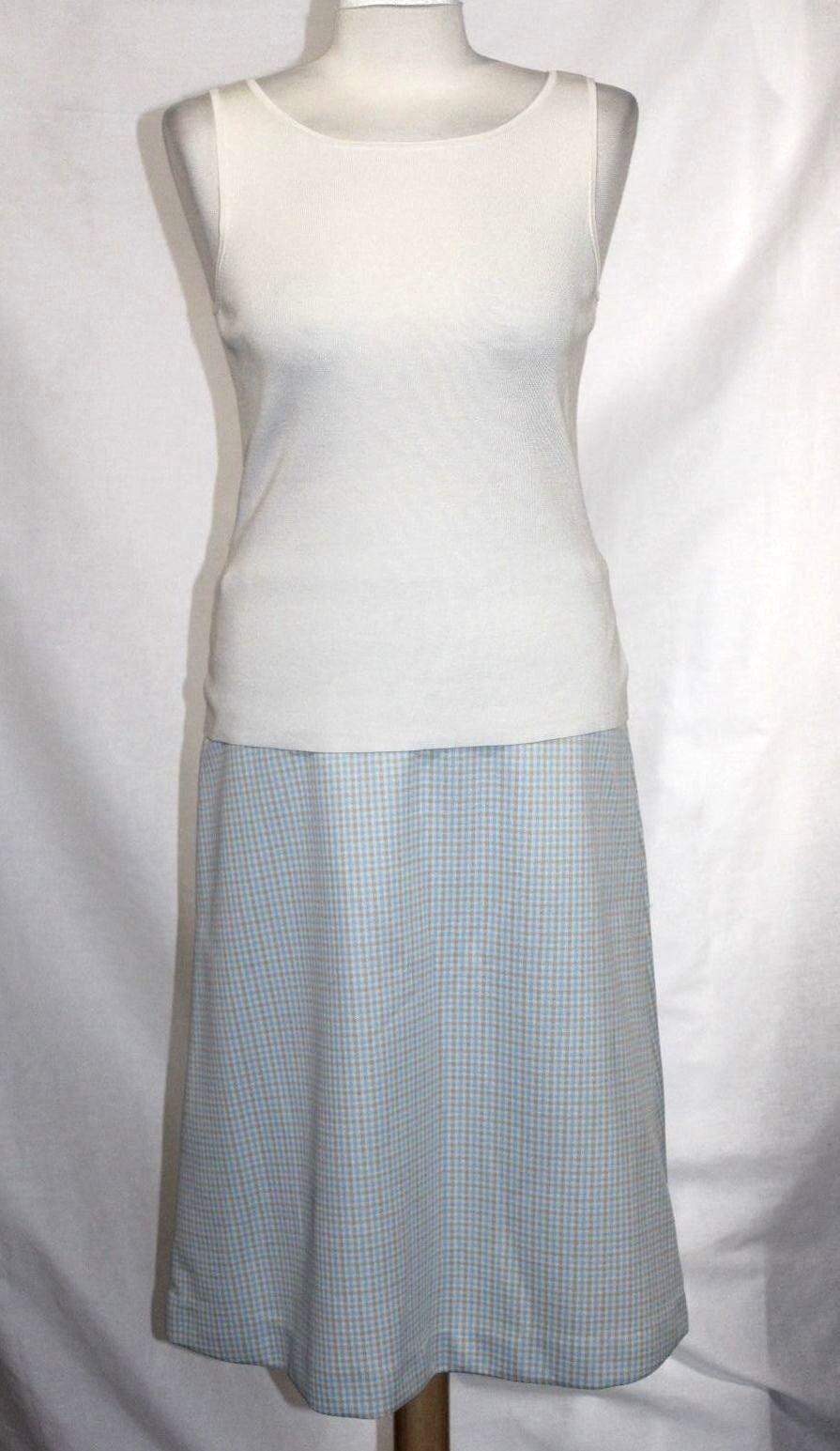 Vintage 60s - S M - MINT - bluee & Beige Plaid Polyester Below-Knee A-Line Skirt