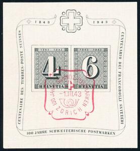 SCHWEIZ-1943-Block-8-mit-rotem-Sonderstempel-Mi-60