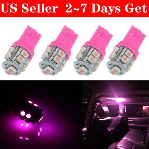 4X Pink Purple T10 Wedge 10SMD LED Interior Light Bulb W5W 2825 158 168 192 194