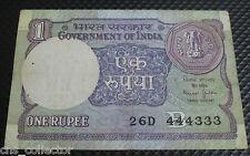 1 RUPEE INDIA Semi-Fancy Number Note 444333, Bimal Jalan, CNS Mega Auction #033