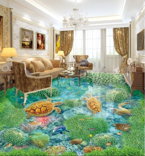 3D Waterweeds Sea Turtle Floor WallPaper Murals Wall Print Decal 5D AJ WALLPAPER
