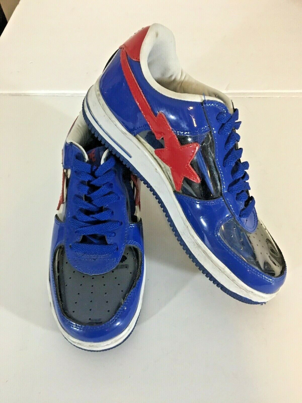 A BATHING APE BAPE STA FOOT SOLDIER FS-001 SNEAKERS blueE RED CLEAR PATENT SZ 9.5