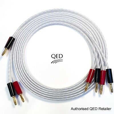 Terminated With 2 QED Airloc Forte Spade Connectors At The Amplifier End To 2 QED Airloc Forte 4mm Banana Plugs AT The Speaker End. QED Silver Anniversary Speaker Cable 10 Meter Single Length