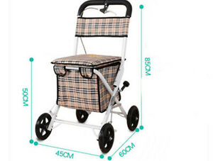 White-Four-Wheels-Convenient-Foldable-Shopping-Luggage-Trolleys-With-Seat