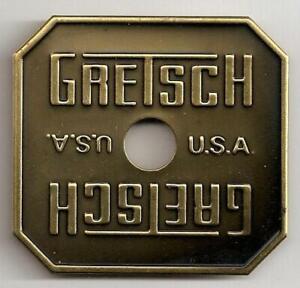 Gretsch-USA-Bronze-Burst-Square-Drum-Badge-Nameplate-Snare-Tom-Bass-NOS