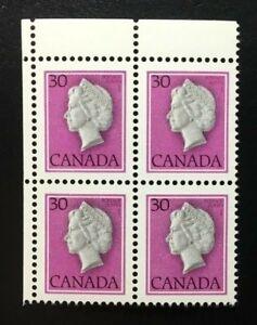 Canada-791T1-Untagged-MNH-Queen-Elizabeth-II-UL-Corner-Block-of-Stamps-1982