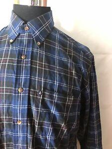 Brooks-Brothers-Flannel-Original-Polo-Shirt-Blue-black-All-Cotton-Sz-Medium-M