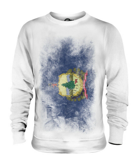 VERMONT STATE FADED FLAG UNISEX SWEATER TOP VERMONTER SHIRT JERSEY GIFT