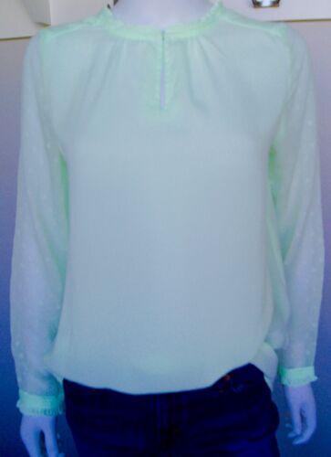 Sweet Salt Neon Green Sheer Polka Dot Long Sleeve