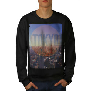 Nouveau City Sweatshirt Tokyo Japan Noir Fashion K1FcJTl