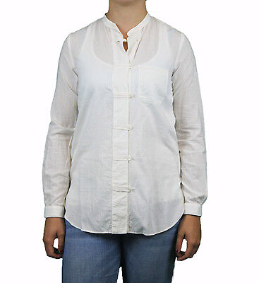 STEVEN ALAN White Stand Collar Cotton Camille Tunic Top WST78CT NWT $188