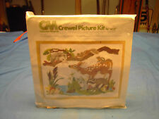 """1977 Columbia- Minerva Crewel Picture Kit 16"""" X 12' Forest Friends NEW 7830"""