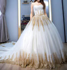 New White and Gold Applique Wedding Dresses Cathedral Train Bridal Ball Gown