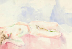 John-Ivor-Stewart-PPPS-1936-2018-20th-Century-Watercolour-Nude-Reclining