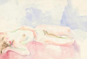 John Ivor Stewart PPPS (1936-2018) - 20th Century Watercolour, Nude Reclining