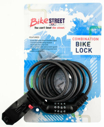 BIKE STREET Combination Bike Lock Cable 8mm x 6/' Combo Flexible W// Mounting NEW