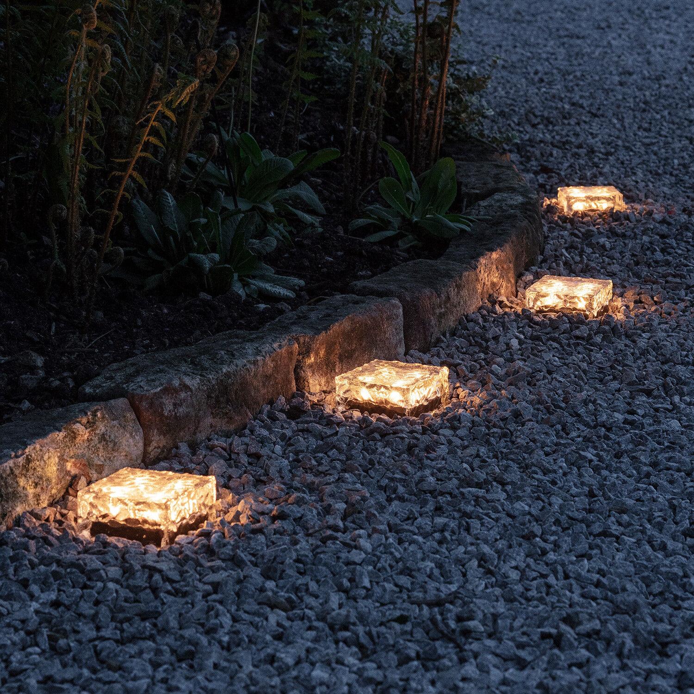 Conjunto de 4 Luces de ruta de vidrio grandes Jardín Solar Cubo De Hielo Luz De Ladrillo _ luces 4fun